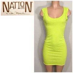 NATION LTD. lime green stretch t-shirt dress. NWT